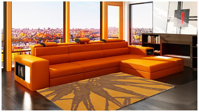 Orange Contemporary Area Rug